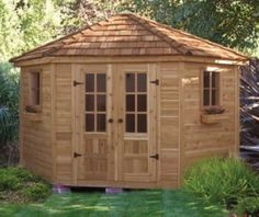 9' x 9' Penthouse Garden Shed Quality Craftsmanship & Design As a pool house or deluxe garden shed, the Penthouse will add beauty and interest to any garden. The unique 5 sided design makes it perfect for corner placement.