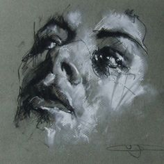 Guy Denning does a quick sketch each day and posts it to his blog. This one was done with conte and chalk and is proff that you can create something striking and accomplished in very little time. By Guy Denning