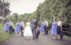 Bridesmaids  groomsmen - full wedding party | Stunning vintage wedding photography by www.newvintagemedia.ca