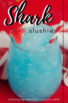 The Frozen Shark Attack Cocktail is perfect all summer long! Made with blue curacao and rum, it's great to serve for Shark Week, and of course, the Fourth of July. This yummy frozen drink is fun to make for adults, and you can leave out the alcohol for the kids to enjoy too. #sharkattack #sharkcocktail #sharkweek #bluecuracao #rumdrinks #rum #bluedrinks #sharkdrinks #july4th Rum Cocktail Recipes, Frozen Drink Recipes, Cocktail And Mocktail, Frozen Drinks, Cocktails With Blue Curacao, Blue Drinks, Summer Cocktails, Rum Punch Drink, Frozen Hot Chocolate
