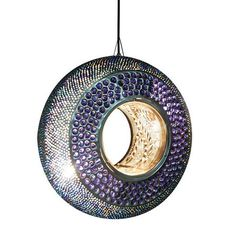 Road to Marrakech Round Moroccan Ceiling Fitting, Glass Blue