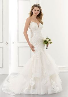 25633 - Alexis by Mori Lee. Try this beauty on at Aurora Bridal in Melbourne, FL 321-254-3880 Wedding Gown Sizes, Bridal Wedding Dresses, Bridal Style, Bridesmaid Dresses, Wedding Suits, Lace Wedding, Prom Dresses, Wedding Dress Pictures, Lace Mermaid Wedding Dress
