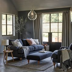 cientouno: Grey furniture living room interior Couch Living Real Homes 18 Gorgeous Grey Living Room Ideas Real Homes Coastal Living Rooms, Living Room Grey, Home And Living, Living Room Furniture, Living Room Decor, Grey Furniture, Furniture Removal, Room Color Schemes, Room Colors