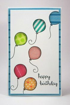 Ballons malen auf dem Glückwunschskarte Geburtstag