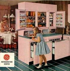 """Amazing vintage refrigerator from GE that includes both wall and drawer fridges This amazing """"GE Refrigeration Center"""" includes refrigerator drawers, a wall refrigerator-freezer & 'cabinettes'. 1950s Kitchen, Old Kitchen, Vintage Kitchen, Kitchen Ideas, Kitchen Sink, Kitchen Decor, Vintage Refrigerator, Refrigerator Freezer, Refrigerator Magnets"""
