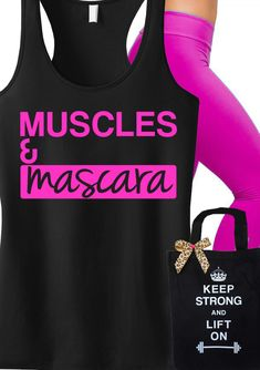 Super Cute #Workout tank top! MUSCLES & MASCARA #Fitness Racerback. Only $24.99, click here to buy http://nobullwoman-apparel.com/collections/fitness-tanks-workout-shirts/products/muscles-mascara-workout-tank