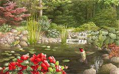 """""""Pond Life"""" aquarelle de Catherine Mc Clung, artiste canadienne qui vit et travaille dans le Michigan."""