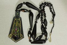 Antique French Jet Celluloid Pendant Necklace Mourning Egyptian Revival Enameled…