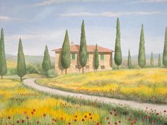 Фреска с типичный дом Тосканы в центре сада Meckelburg Касселе