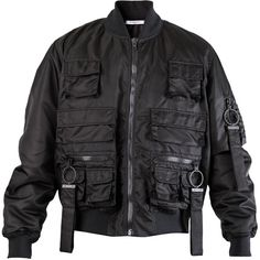 Givenchy Multi-Pocket Bomber Jacket (Black) ❤ liked on Polyvore featuring outerwear, jackets, coats & jackets, men, givenchy, black bomber jacket, flight jacket, multi pocket jacket and black jacket
