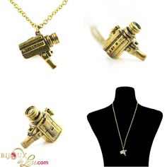 Handycam Necklace: This gold tone brass pendant is in the form of a retro video camera and measures 1 inches high. It comes with a long gold tone brass chain. Retro Camera, Retro Videos, Brass Pendant, Video Camera, Brass Chain, Cufflinks, 3d, Accessories, Jewelry