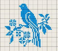 Bird on a branch Cross Stitch Bird, Simple Cross Stitch, Cross Stitch Animals, Cross Stitch Charts, Cross Stitch Designs, Cross Stitching, Cross Stitch Embroidery, Cross Stitch Patterns, Crochet Sweater Design