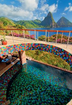 An en suite pool at Jade Mountain Resort is the perfect place to lap up St. Lucia's jaw-dropping Piton Mountains.