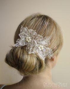 peina tejida con hilo de plata headpieces/ wedding/ bridal