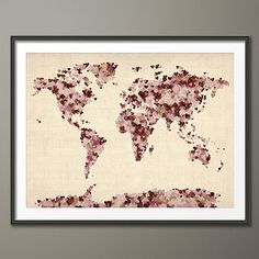 Love Hearts World Map Art Print