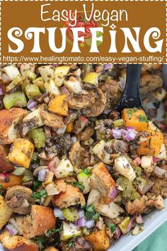 Make this easy vegan stuffing recipe at home using vegan sausage, homemade croutons and veggies #veganstuffing #vegansausage #veganstuffing #veganthanksgiving