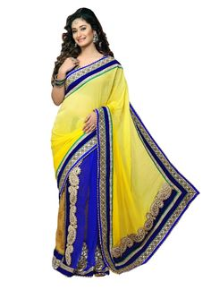Yellow And Blue Viscose Georgette Designer Saree | Item Code: 4367