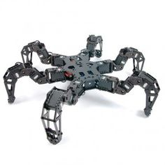 This Comprehensive PhantomX AX Hexapod Mark II Kit comes with everything you need for a fully-featured robotic platform. All 18 DYNAMIXELs (preset with IDs), frame components, anodized black socket-head hardware, an Arduino-compatible ArbotiXRobocontrolle Drones, Advanced Robotics, Degrees Of Freedom, Robot Kits, Robot Design, 3d Prints, Concept, This Or That Questions, Cars