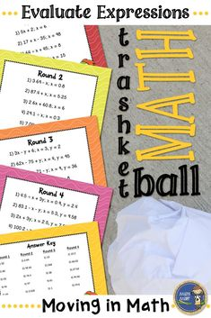 Evaluate Expressions Trashketball - Get your students moving in math class. Students practice evaluating expressions and shoot baskets at the end of each round. Students will beg to play and even principals have enjoyed a round or two. Click to check out all of my trashketball games! $ gr 5-7