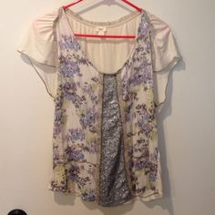 Anthropologie Blouse Light weight cream Anthrppologie Blouse with pretty floral print and embellishment. In good used condition. Anthropologie Tops Blouses