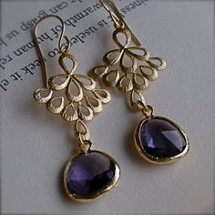 Chandelier Earrings-Golden Boho Chic Earrings with Lavender Glass-Bridesmaid Jewelry on Etsy, $29.00