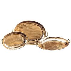 Set of three serving trays with a distressed copper finish.  Product: Small, medium and large serving trayConstructi...
