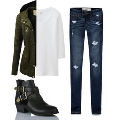 This outfit is simple and rugged enough for the outdoors but still #fashionable. #Boots #jacket
