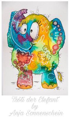 Doodle Drawings, Animal Drawings, Cute Drawings, Doodle Art, Image Elephant, Elephant Art, Watercolor Animals, Watercolor Cards, Watercolor Paintings