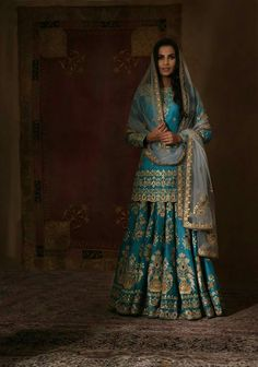 """A turquoise given by a loving hand carries with it happiness and good fortune. Indian Attire, Indian Wear, India Fashion, Asian Fashion, Indian Dresses, Indian Outfits, Rimple And Harpreet Narula, Mehendi Outfits, Desi Wear"