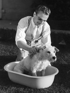 James Cagney and his dog.