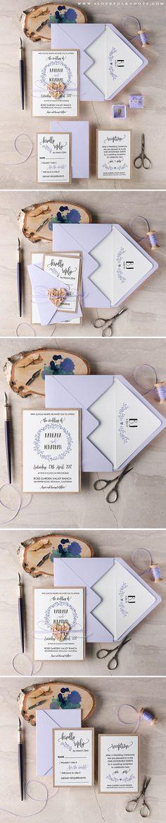 Wedding Invitation - Wreath Monogram, Birch Bark Heart Tag & Twine #handmade #summerwedding