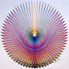 #regolo54 #geometry #symmetry #mathart #artorart #mandalala #mandala #handmade #disk #circle #string #art #Escher #mcescher #ink #triangle #hexagon