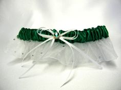 Emerald green garter with Swarovski by SimplyCharmingGifts on Etsy, $24.00