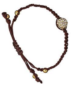 Blu Bijoux Brown and Gold Crystal Paved Shamballa Bracelet