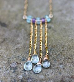 Aquamarine Necklace Teardrop Gold Chain Dangle Necklace by amyfine, $54.00
