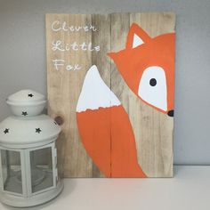 I think I will make this and do turquoise instead of orange  Clever little fox sign fox nursery sign by AmbersWoodenBoutique