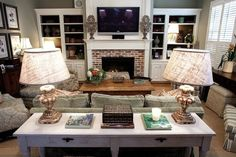 Love the tv above the fireplace and book cases on each side.  not crazy about table and lamps.