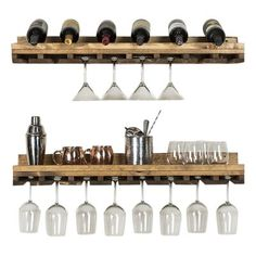 Trent Austin Design Bernardo Rustic Luxe Tiered Wall Mounted Wine Glass Rack Finish: Dark Walnut