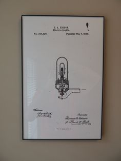 Thomas Edison Light Bulb Patent 11x17 inch poster. $7.00, via Etsy.