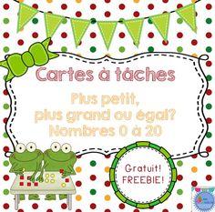 FRENCH FREEBIE! Produit gratuit: 20 cartes à tâches sur la comparaison des nombres de 0 à 20.