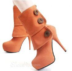 Coral or  Light Orange Booties.  Heels  ♡  Shoes