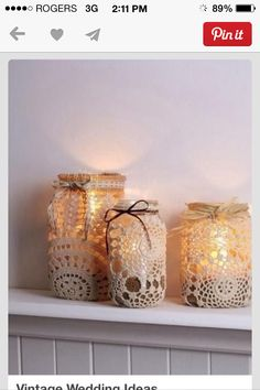 Vintage lace candle holders!