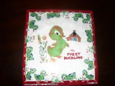 ~Fuzzy Duckling Classic Golden Book~ RARE Child's Handkerchief Hanky 1940's #AGoldenBookDesign