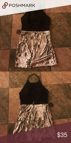 Nasty Gal halter sequin dress Nasty Gal halter top backless sequined bottom dress. Never worn. Open to reasonable offers! Nasty Gal Dresses Backless