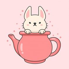 Cute rabbit in a ceramic tea kettle cartoon animal character vector. Cute Animal Drawings, Cartoon Drawings, Harry Potter Cartoon, Diy Arts And Crafts, Portfolio, Cute Stickers, Cute Wallpapers, Design Elements, Cute Pictures