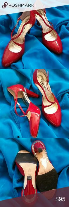 TARYN ROSE 6 1/2 B RED PATENT LEATHER Worn once, color not picking up correctly, the red shown is more orange, the true color is blue red, maybe oxblood, dark red. Taryn Rose Shoes Heels