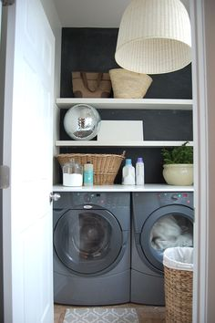 "laundry room from ""the nester"" blog. love the gray and white and the open shelving :)"