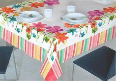 Mantel antimanchas de algodón con estampado floreado para unas veladas llenas de frescura!