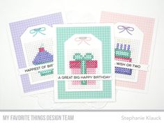 Handmade cards from Stephanie Klauck featuring products from My Favorite Things #mftstamps #cardmaking #crossstitch