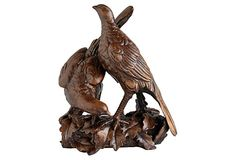 "9"" Partridge Pair On Log, Brown, on OneKingsLane.com 